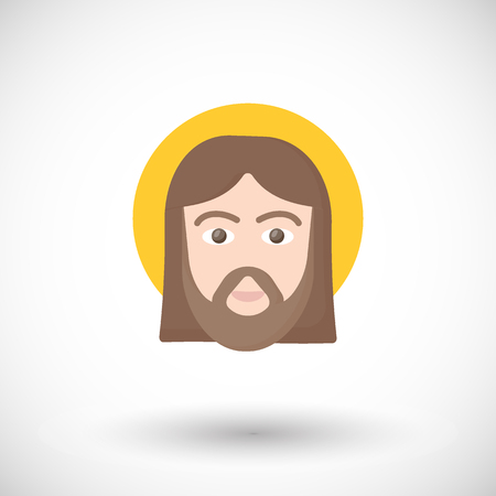 Jesus Christ portrait flat vector icon, Flat design of man face vector illustration with round shadow isolated on the white background
