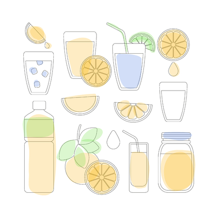 Thin line icon set - orange fruit and products, big set of outline design orange juice and drinks objects isolated on the white background, vector illustration