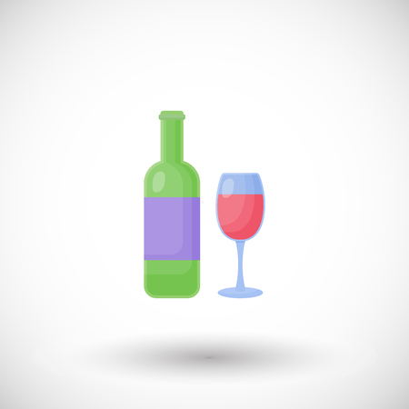 Flat design of alcohol beverage, grape product or bar object on the white background, cute vector illustration with reflections