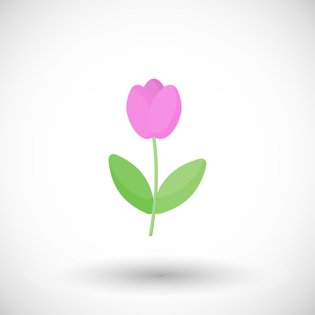 Tulip flower flat vector icon, Flat design of spring floral object on the white background with round shadow, cute vector illustration with reflections Ilustração
