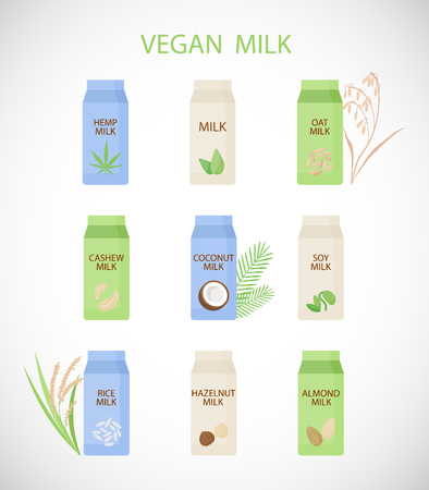 Vegan milk vector flat icon set, vegetarian or plant based milk, flat design of fnon-diary products isolated on the white background, vector illustration