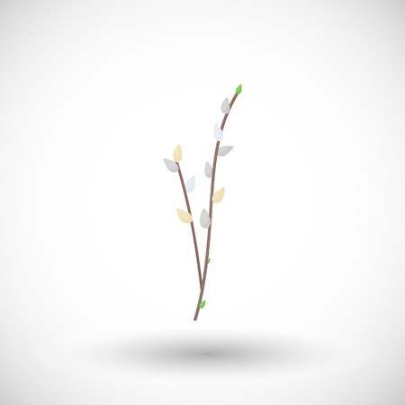 Willow branch flat vector icon, Flat design of spring floral object on the white background with round shadow, cute vector illustration with reflections