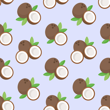 Coconut vector flat seamless pattern, tropical exotic fruits on the light green background, vector illustration