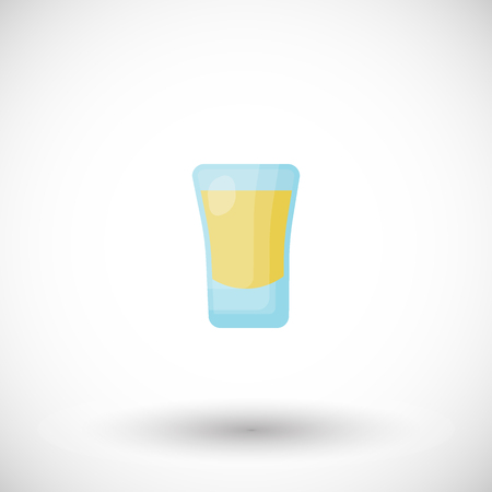 Shot cocktail flat vector icon, Flat design of alcohol beverage in glass, bar object with round shadow, cute vector illustration with reflections
