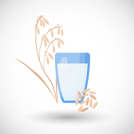 Oat milk vector flat icon, glass of vegan, vegetarian or plant based milk, flat design of non-dairy, lactose free product isolated on the white background, vector illustration