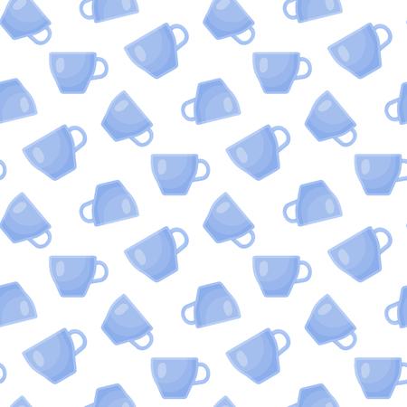Tea cup vector flat seamless pattern, blue mug on the white background, vector illustration Ilustração