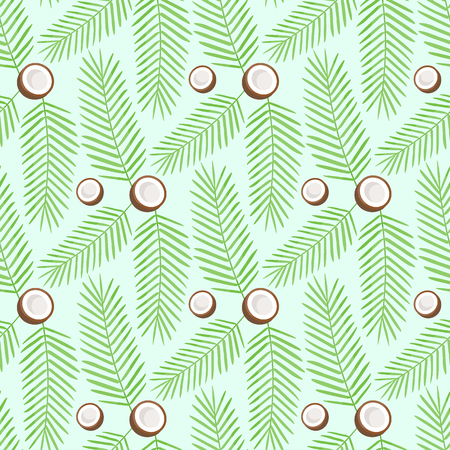 Coconut vector flat seamless pattern, palm leaves and exotic fruits on the light green background, vector illustration Ilustração
