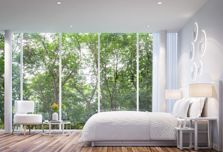 White Bedroom modern minimalist style  white bed with large windows. Looking to experience nature up close.