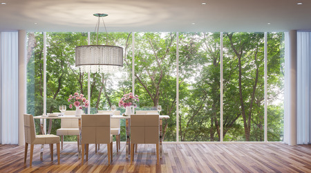 Modern-style dining room, surrounded by nature. Large windows Looking to experience nature up close.