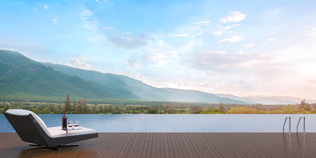 Terrace swimming pool overlooking the surrounding mountains. Has a daybed with a wine tasting.