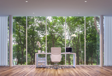 Modern-style working room, surrounded by nature. Large windows Looking to experience nature up close.