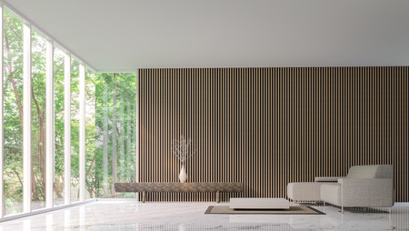 Modern peaceful living room in the forest/Modern peaceful  living room  minimalist style marble white floor decorate wall with wood lattice,basic Simple  bright and clean There are large windows looking out to experience nature up close. Foto de archivo