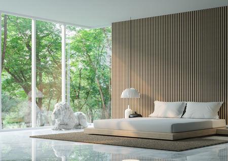Modern peaceful Bedroom in the forest/Modern peaceful  Bedroom  minimalist style marble  white floor decorate wall with wood lattice,basic Simple  bright and clean There are large windows looking out to experience nature up close. Archivio Fotografico