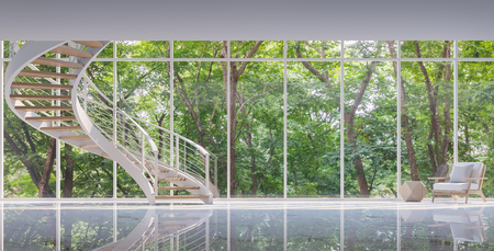 Spiral stair in the glass house 3D rendering image.Surrounded by nature. Large windows Looking to experience nature up close. Фото со стока