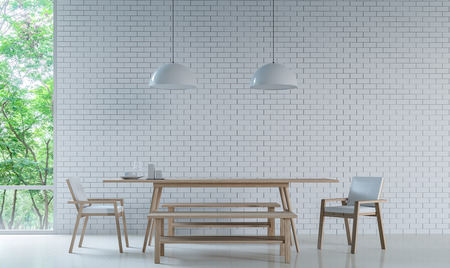 Modern white dining room Decorate Wall With white Brick 3D Rendering Image. Minimalist style white floor decorate wall with white Brick pattern,basic Simple  bright and clean There are large windows looking out to experience nature up close