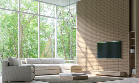 Wunderbar #68386306   Moderne Wohnzimmer Dekorieren Wand Mit Ziegelstein 3D Rendering  Image.Minimalist Stil Weißen Boden Schmücken Wand Mit Ziegelsteinmuster, ...