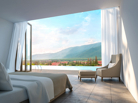 Modern Bedroom with mountain view 3d rendering Image. There are borderless swimming pool There are large open door overlooking the surrounding nature and mountains Standard-Bild