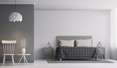 Modern Bedroom interior with Black and white 3d rendering Image. There are decorate wall with white wood and empty wall paint with grey.There are waiting corner with white desk and chair.