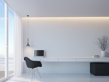 Modern black and white working room with sea view minimalist style 3d rendering image,Decorate wall with hidden warm light,There are large windows Looking to beautiful sea view Foto de archivo