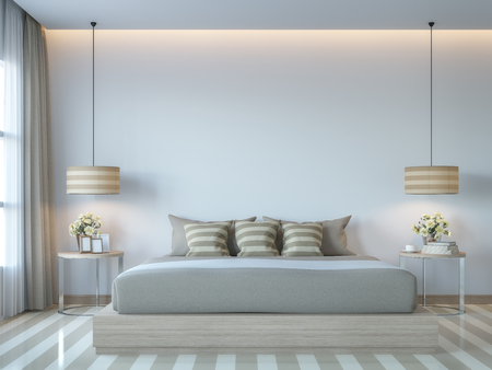 Modern white bedroom minimal style 3D rendering Image.There white empty wall.Decorate room with light tone color and hidden light on ceiling Фото со стока