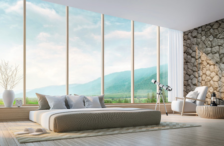 contemporary interior: Modern bedroom with mountain view 3d rendering Image.Decorate wall with nature stone. There are large window overlooking the surrounding nature and mountains