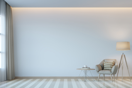 Modern white living room minimal style 3D rendering Image.There are white empty wall.Decorate room with light tone color and hidden light on ceiling Фото со стока