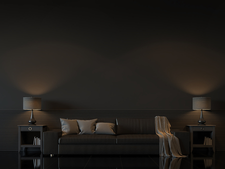 Modern living room interior with empty black wall 3d rendering image.There are minimalist style decorate room with black furniture,floor,wall