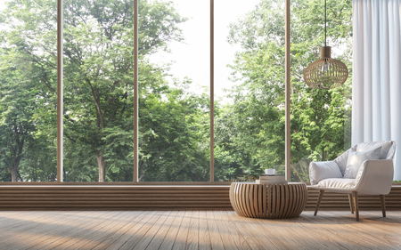자연보기 3d 렌더링 이미지와 현대 거실입니다. 나무로 꾸며진 객실이 있습니다. 주변의 자연과 숲을 내려다 보는 커다란 창문이 있습니다.