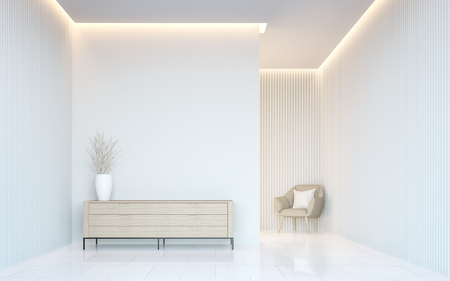 Empty white room modern space interior 3d rendering image.A blank wall with pure white. Decorate wall with vertical line pattern and hidden warm light