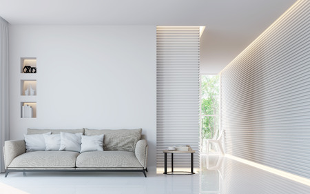 Modern white living room interior 3d rendering image.A blank wall with pure white. Decorate wall with extrude horizon line pattern and hidden warm light