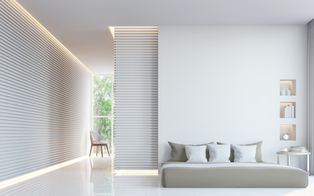 Modern white bedroom interior 3d rendering image.A blank wall with pure white. Decorate wall with extrude horizon line pattern and hidden warm light Archivio Fotografico