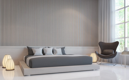 Modern white bedroom interior 3d rendering image.there are a blank white wall with Lath in vertical pattern and white floor. Decorate room with dark grey bed and Warm light floor lamp Stock fotó