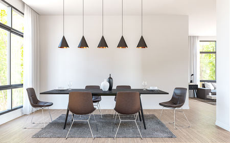 Modern dining room decorate with  brown leather furniture 3d rendering image.There are large window overlooking to nature and forest