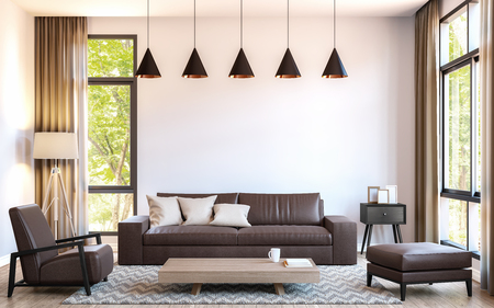 Moderno Loft Sala De Estar Imagen De Renderizado 3D Amueblado Con ...