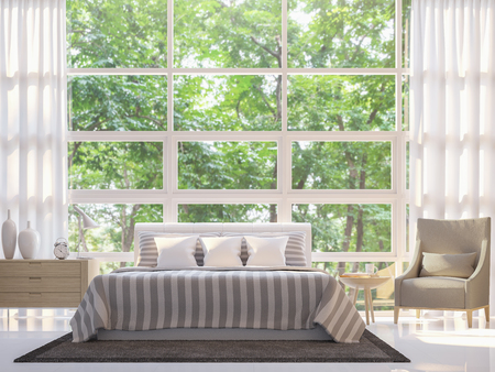 Modern white bedroom 3d rendering image.There are large window overlooking to nature and forest
