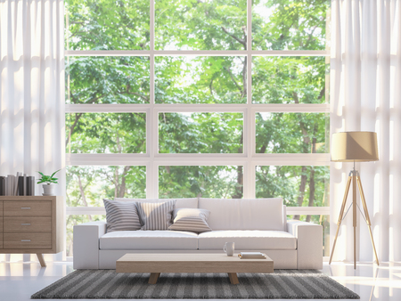 Modern white living room 3d rendering image.There are large window overlooking to nature and forest