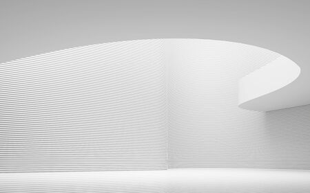 Empty white room modern space interior 3d rendering image.A blank wall with pure white. Decorate wall with horizon line pattern