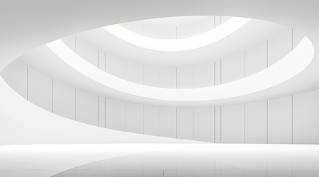 modern white space interior with spiral ramp 3d rendering image.A blank wall with pure white. Decorate wall with vertical line pattern