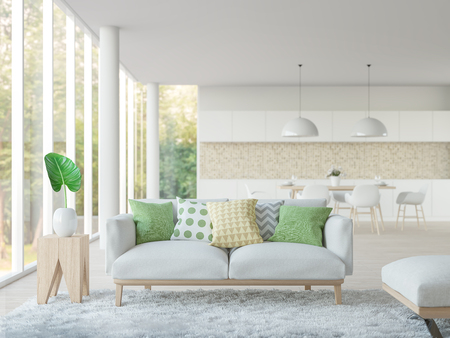 Modern white living room and dining room 3d rendering image.Focus at sofa There are large window overlooking to nature and forest Standard-Bild