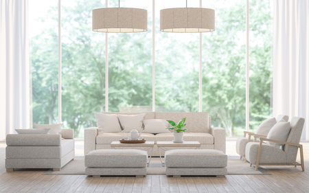 Modern white  living room in the forest 3d rendering image.There is a large sofa set, wooden floors and large glass windows. Can look out to see the beautiful nature. Archivio Fotografico