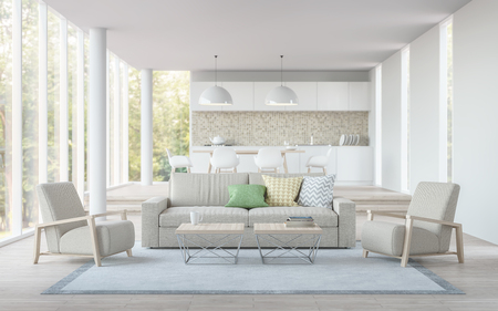 Modern white living,dining room and kitchen 3D rendering image.There are living room has a dining and kitchen in the back.There are large glass window overlooking the surrounding nature and forest Standard-Bild
