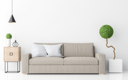 Modern white living room interior minimalist style image 3d rendering .There are light brown sofa,white wall and sphere form tree
