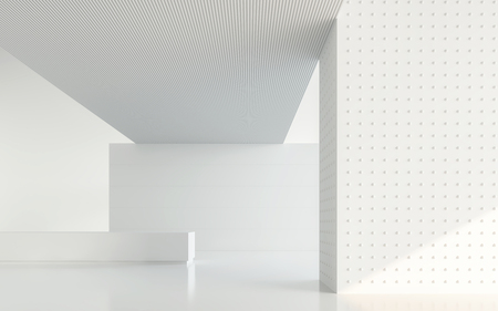 Empty white room modern space interior 3d rendering image.A blank wall with pure white. Decorate with geometry object Banque d'images