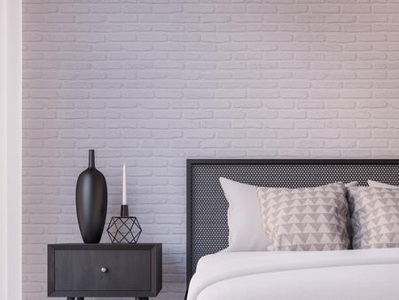 Modern loft bedroom 3d rendering image Furnished with Black steel furniture has white brick walls Foto de archivo