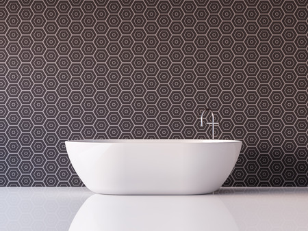 Modern luxury bathroom  3d rendering image Furnished with white bathtub has tile pattern walls and white floor Foto de archivo