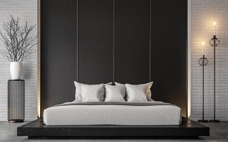 Modern loft bedroom 3d rendering image Furnished with Black wood furniture has concrete floor and white brick walls Standard-Bild