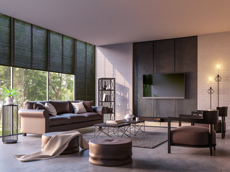modern loft furniture. Modern Loft Living Room With Nature View 3d Rendering Image Furnished Dark Brown Leather And Furniture