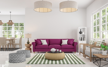 Modern white living room and dining room 3d rendering image There are large window overlooking to nature and forest