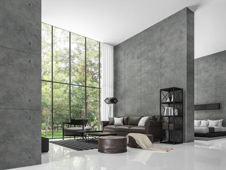 Moderno loft sala de estar y dormitorio 3d rendering image La habitación tiene un techo alto. Hay un muro de hormigón pulido. Pisos blancos y grandes ventanales con vistas al jardín