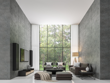 Modern loft living room 3d rendering image The living room has a high ceiling. There is a polished concrete wall. White floors and large windows overlook the garden